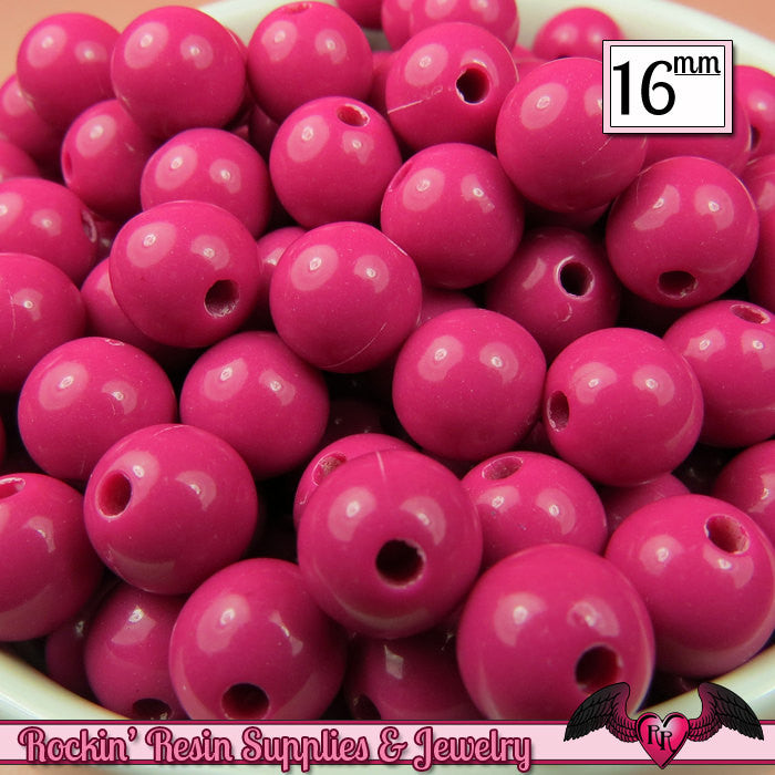 16mm FUCHSIA Pink GUMBALL Beads (20 pieces) Round Acrylic Beads - Rockin Resin  - 1