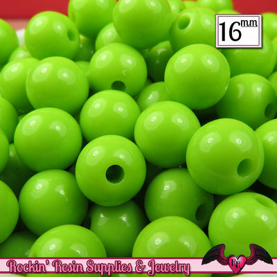 16mm GREEN GUMBALL Beads (20 pieces) Round Acrylic Beads - Rockin Resin  - 1
