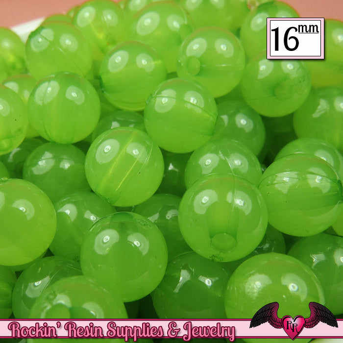 16mm Jelly GREEN GUMBALL Beads (20 pieces) Round Acrylic Beads