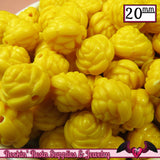 12 FLOWER ROSE BEADS 20mm Yellow Acrylic Flower Beads - Rockin Resin  - 1