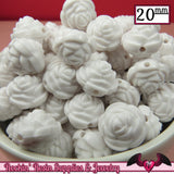 12 FLOWER ROSE BEADS 20mm White Acrylic Flower Beads - Rockin Resin  - 2
