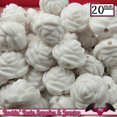 12 FLOWER ROSE BEADS 20mm White Acrylic Flower Beads - Rockin Resin  - 1