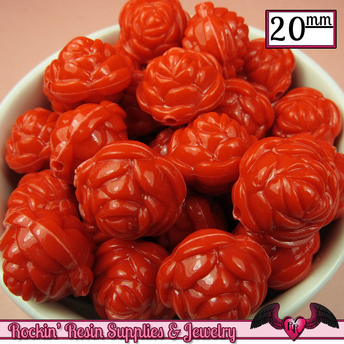 12 FLOWER ROSE BEADS 20mm Red Acrylic Flower Beads