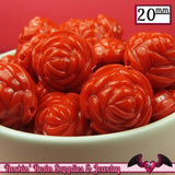12 FLOWER ROSE BEADS 20mm Red Acrylic Flower Beads - Rockin Resin  - 3