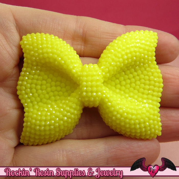 2 pcs FAUX RHINESTONE True Yellow BOWS Large Flatback Resin Decoden Kawaii Cabochons 52x40mm