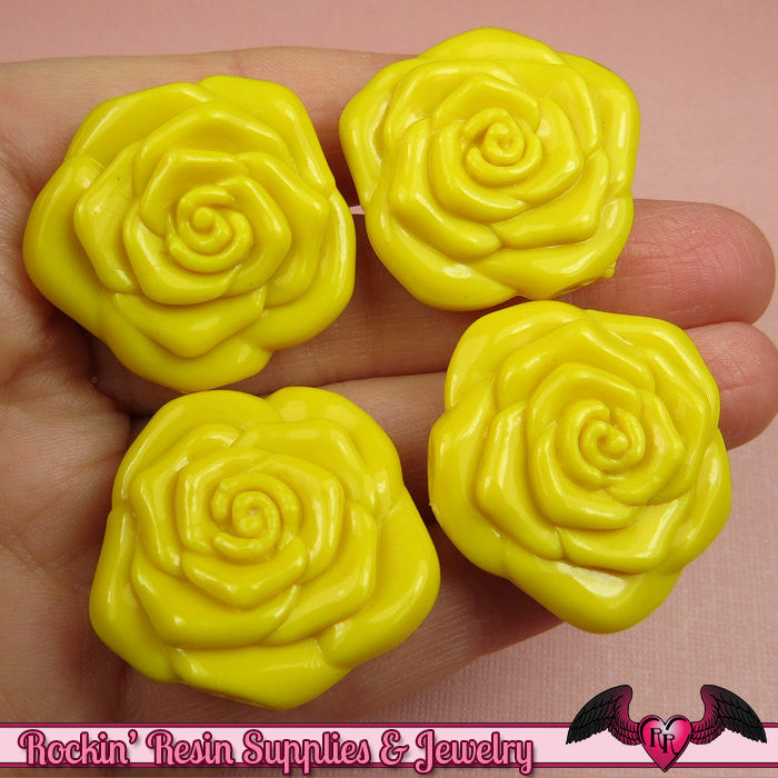 8 pc YELLOW ROSE BEADS Large DOuBLE SIDeD Acrylic Flower Beads 31mm