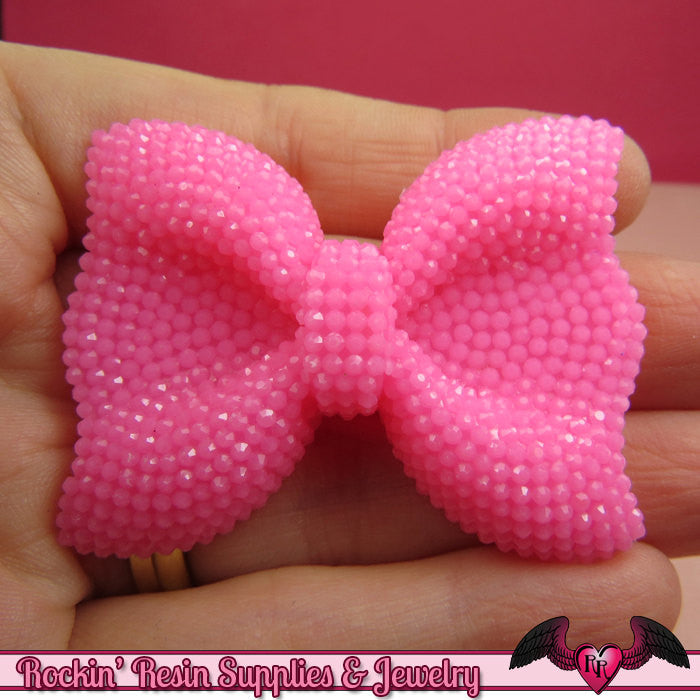 2 pcs FAUX RHINESTONE True Hot Pink BOWS Large Flatback Resin Decoden Kawaii Cabochons 52x40mm