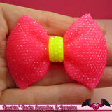 2 pcs Large FAUX RHINESTONE 2 Color Hot Pink & Yellow BOWS Large Flatback Resin Decoden Kawaii Cabochons 58x43mm - Rockin Resin  - 1