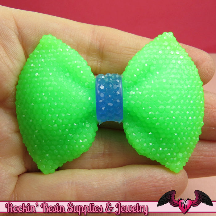 2 pcs Large FAUX RHINESTONE 2 Color Green & Blue BOWS Large Flatback Resin Decoden Kawaii Cabochons 58x43mm