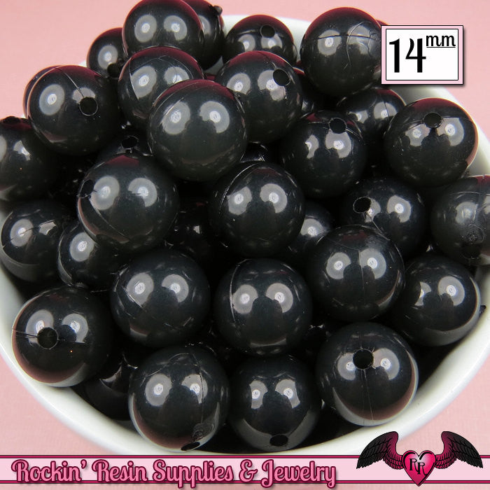 14mm 25 pc BLACK JELLY Gumball Beads  Round Acrylic Beads