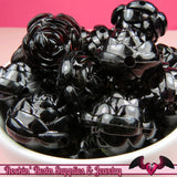 25mm Large BLACK MIX Transparent Rose Flower Beads (8 pieces) - Rockin Resin  - 2