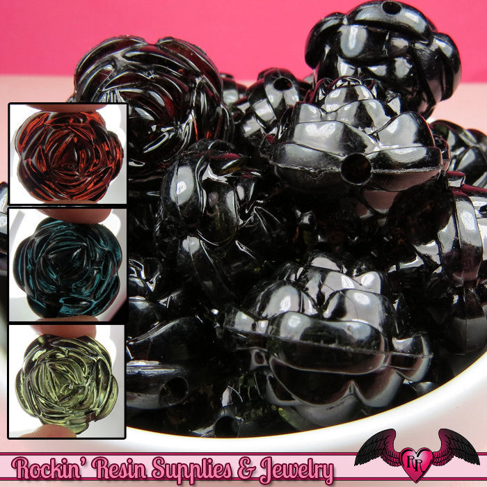 25mm Large BLACK MIX Transparent Rose Flower Beads (8 pieces) - Rockin Resin  - 1