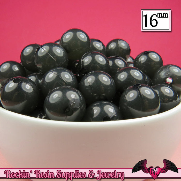 16mm Jelly Black GUMBALL Beads (20 pieces) Round Acrylic Beads