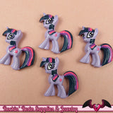 4 pc Purple & Pink PONY Flatback Resin Kawaii Cabochons 29x28mm - Rockin Resin  - 2