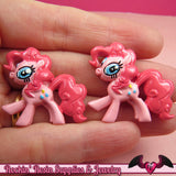 4 pc PINK PONY Flatback Resin Kawaii Cabochons 31 x 29mm Decoden Cellphone Decorations - Rockin Resin  - 2
