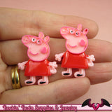 4 pc PINK PIG Cartoon Inspired Kawaii Cabochons 24x31mm Decoden Resin Flatback Cellphone Decorations - Rockin Resin