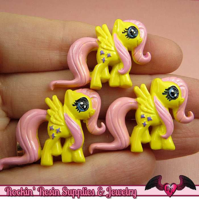 4 pc Yellow & Pink PONY Pegasus Flatback Kawaii Cabochons 32 x 23mm