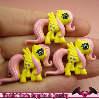 4 pc Yellow & Pink PONY Pegasus Flatback Kawaii Cabochons 32 x 23mm - Rockin Resin