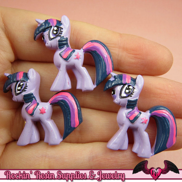 4 pc Purple & Pink PONY Flatback Resin Kawaii Cabochons 29x28mm