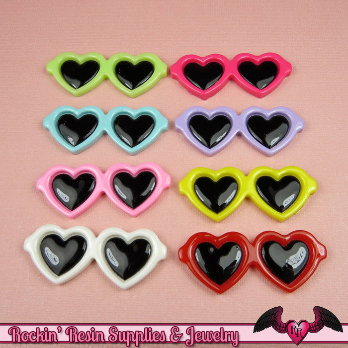 6 pcs HEART SUNGLASSES Kawaii Cabochons 45x18mm Flatback Resin Decoden Cellphone Decorations