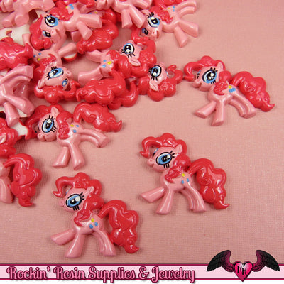 4 pc PINK PONY Flatback Resin Kawaii Cabochons 31 x 29mm Decoden Cellphone Decorations - Rockin Resin  - 1