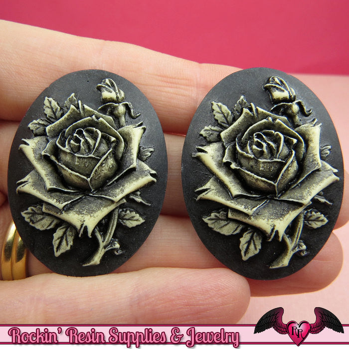 2 pc ROSE Vintage Style Resin Cameos 30x40mm Black with Off White Antique Style Flatback Cabochons