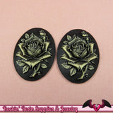 2 pc ROSE Vintage Style Resin Cameos 30x40mm Black with Off White Antique Style Flatback Cabochons - Rockin Resin  - 2