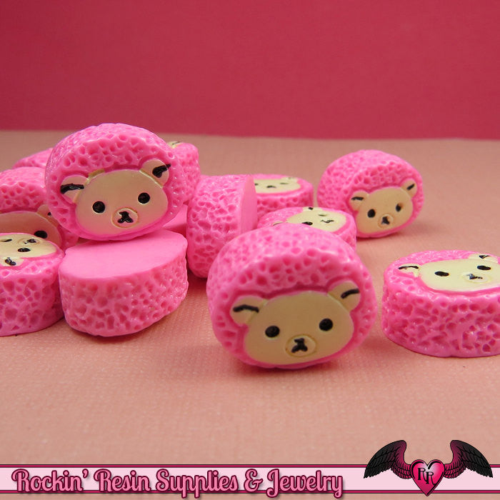 5 pcs BEAR HEAD Sweet Roll Bun   Resin Decoden Kawaii Flatback Cabochons 14 x 17mm - Rockin Resin  - 1