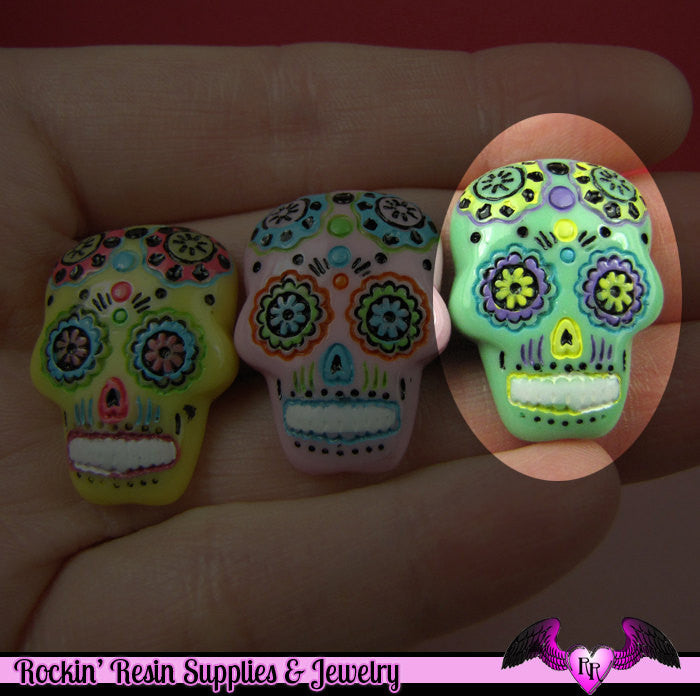 3 pc Green SUGAR SKULL Day of The Dead Flatback Decoden Cabochons 20x17mm - Rockin Resin