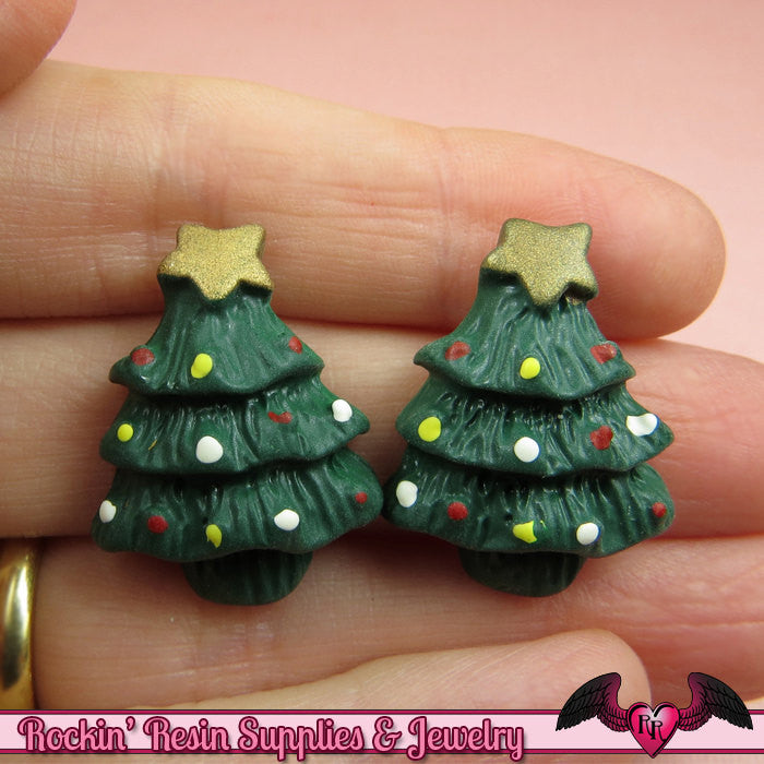 5 pcs CHRISTMAS TREE Holiday Resin Flatback Decoden Cabochons 26x21mm