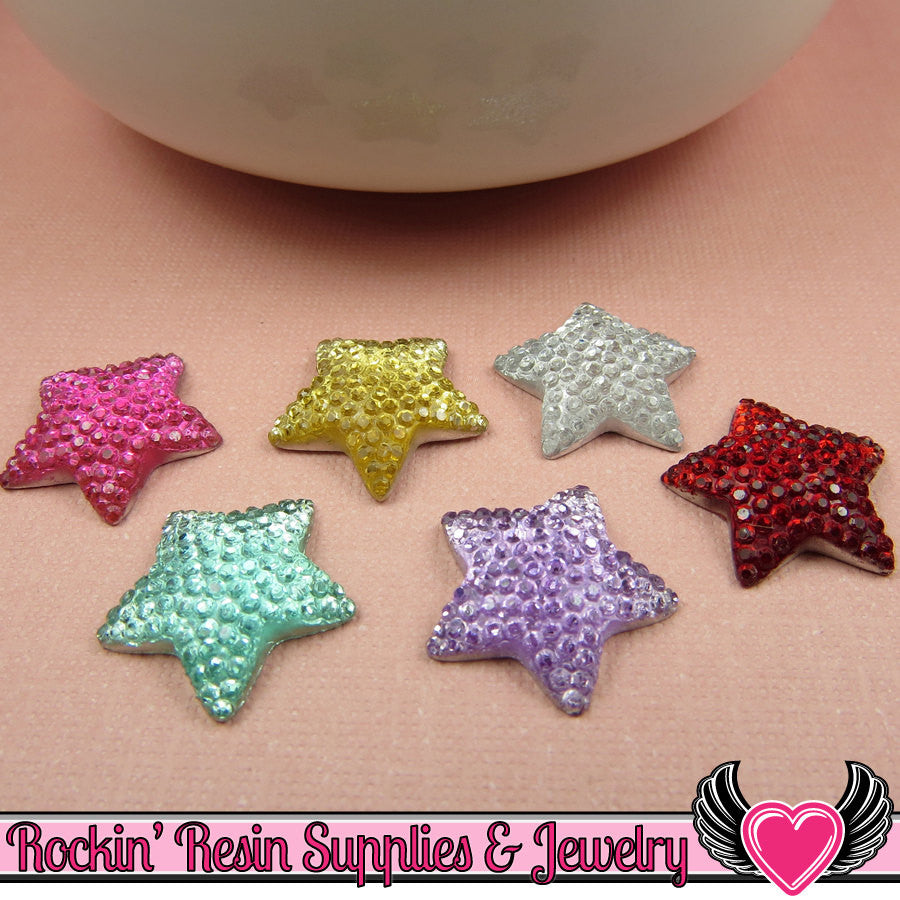 20 pcs Sparkly Fake Rhinestone Stars 16mm Resin Flatback Decoden Kawaii Cabochons