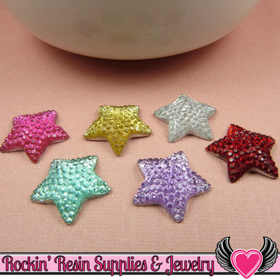 20 pcs Sparkly Fake Rhinestone Stars 16mm Resin Flatback Decoden Kawaii Cabochons - Rockin Resin  - 1