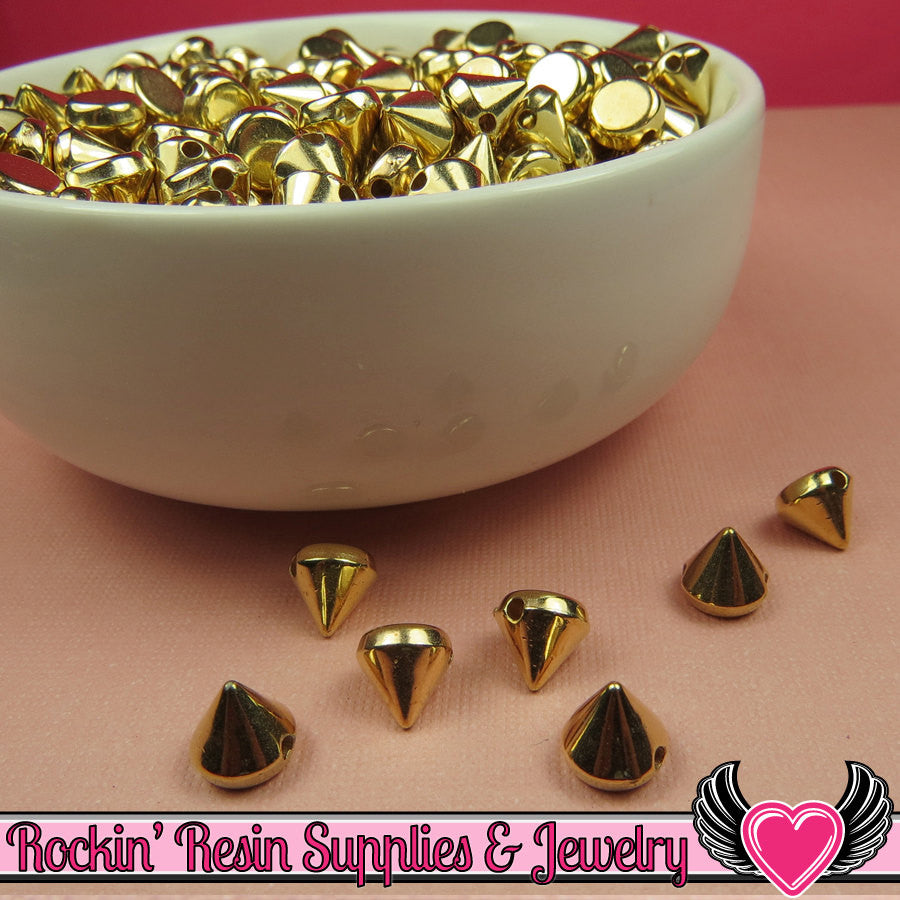 50 pc Metallic Gold SPIKE CONE BEADS 8mm - Rockin Resin  - 1