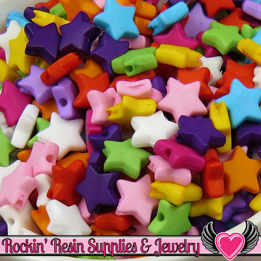 10mm STAR BEADS Bright Colorful Mix (100 pieces) Tiny Acrylic Beads