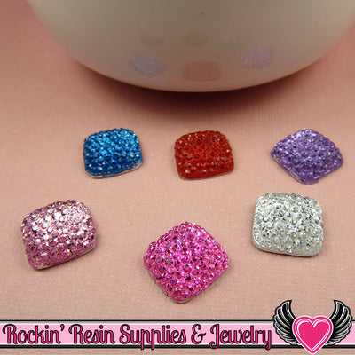 20 pcs Sparkly Fake Rhinestone Squares 12mm Resin Flatback Decoden Kawaii Cabochons - Rockin Resin  - 1