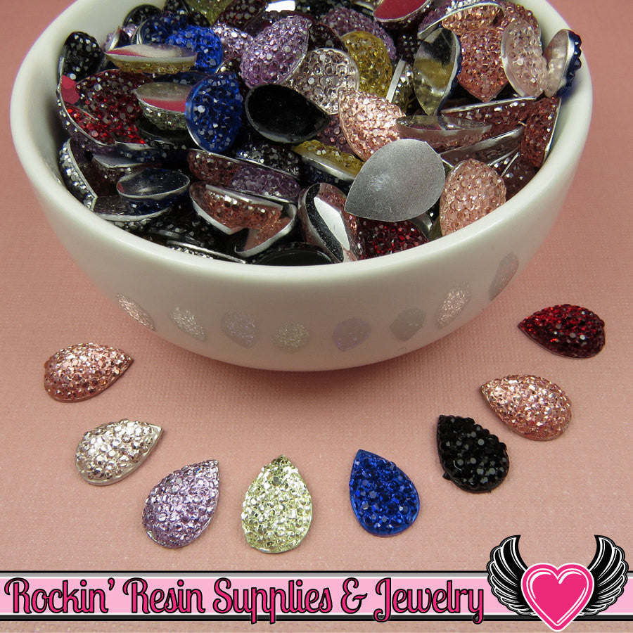20 pcs Sparkly Fake Rhinestone Teardrops 14mm Resin Flatback Decoden Kawaii Cabochons
