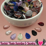 20 pcs Sparkly Fake Rhinestone Teardrops 14mm Resin Flatback Decoden Kawaii Cabochons - Rockin Resin  - 1