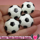 4 Pcs SOCCER BALL Sports Resin Flatback Decoden Cabochons 25mm - Rockin Resin