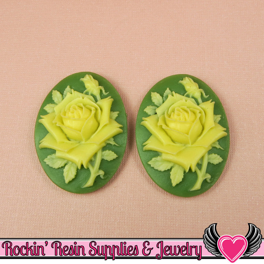 2 pc IVORY ROSE Vintage Style 30x40mm Green Resin Cameos Cabochons