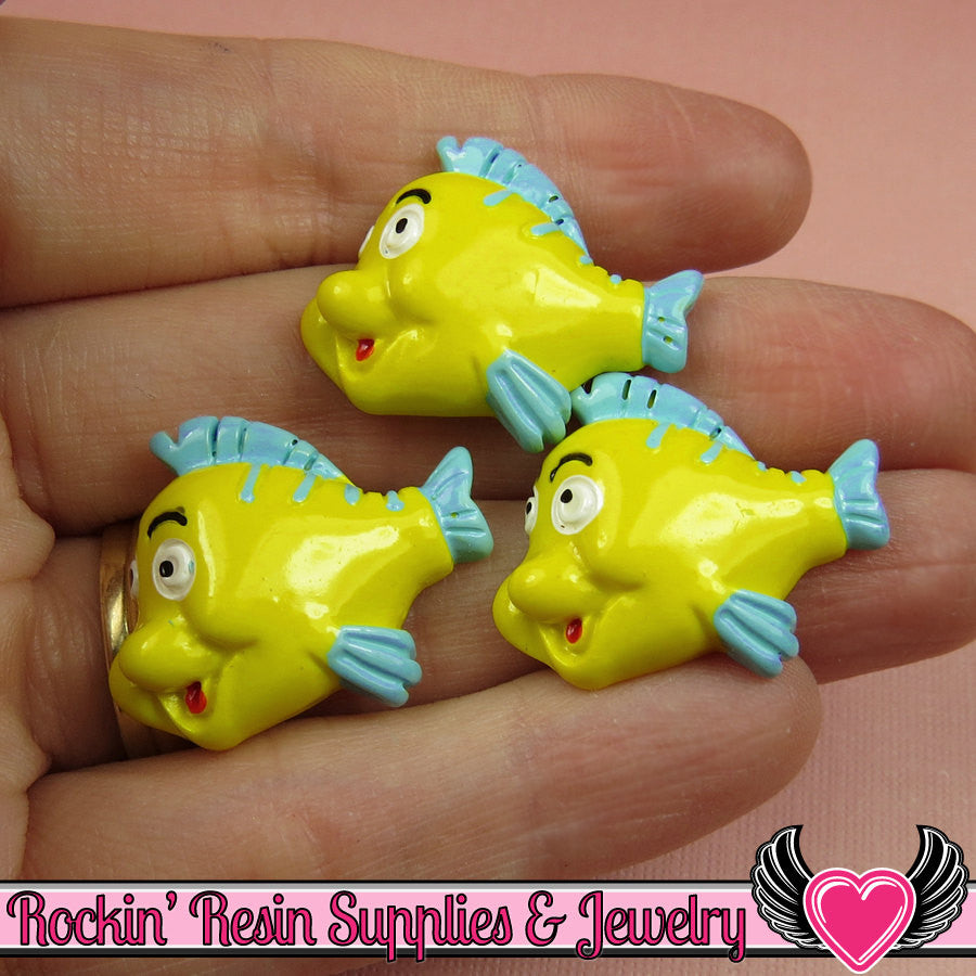 4 pc Flounder FISH Cartoon Inspired Kawaii Flatback Decoden Cabochons 22x28mm - Rockin Resin