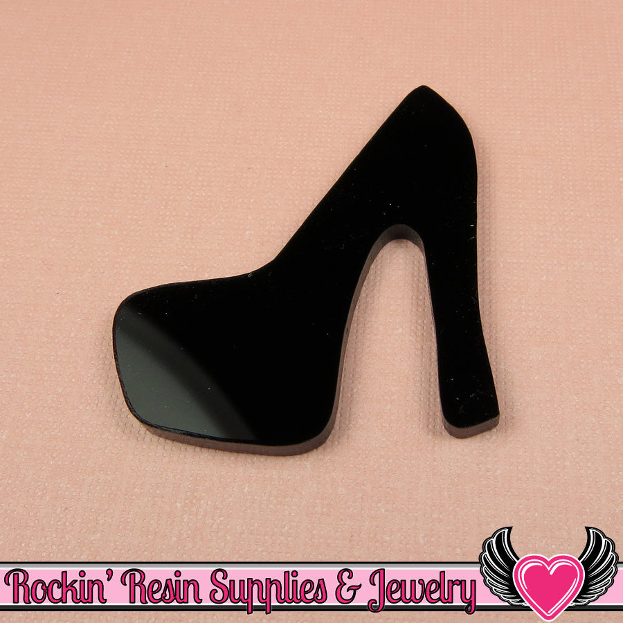 3 pc LARGE High Heel SHOES in Black Flatback Decoden Laser Cabochons 43x39mm