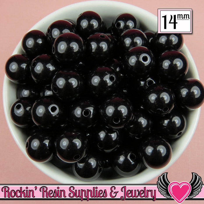 GUMBALL Beads 14mm Beads 25 pcs BLACK Round Acrylic Beads