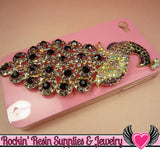 XL PURPLE PEACOCK Crystal Covered Gold Alloy Bird Decoden Cabochon Cellphone Decoration - Rockin Resin  - 2