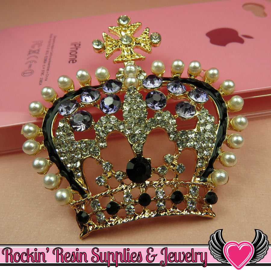 3D Purple & Pearl Royal CROWN Blinged Out Gold Tone Alloy DIY Cabochon Cellphone Decoration - Rockin Resin  - 1