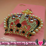 3D Purple & Pearl Royal CROWN Blinged Out Gold Tone Alloy DIY Cabochon Cellphone Decoration - Rockin Resin  - 2