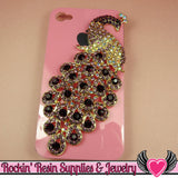 XL PURPLE PEACOCK Crystal Covered Gold Alloy Bird Decoden Cabochon Cellphone Decoration - Rockin Resin  - 1