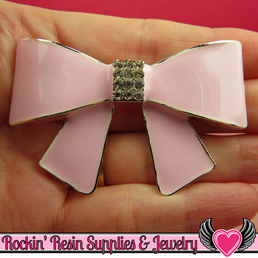 Huge Light Pink BOW with Crystals Silver Alloy DIY Cabochon Cellphone Decoration