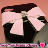 Huge Light Pink BOW with Crystals Silver Alloy DIY Cabochon Cellphone Decoration - Rockin Resin  - 2