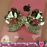 Large Clear Mirror Heart BOW with Crystal Rhinestones Silver Alloy DIY Cabochon Cellphone Decoration - Rockin Resin  - 3