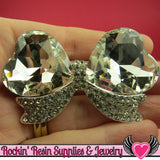 Large Clear Mirror Heart BOW with Crystal Rhinestones Silver Alloy DIY Cabochon Cellphone Decoration - Rockin Resin  - 2